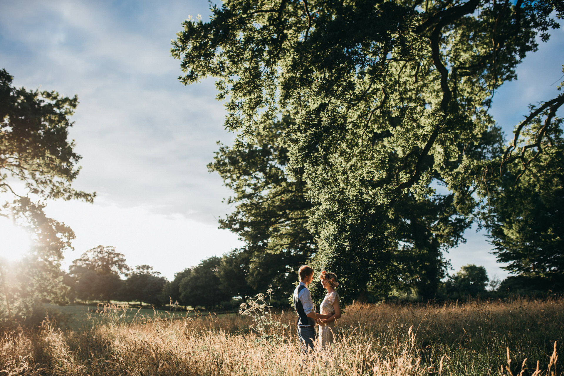 Bride and groom in evening light at Pennard house wedding