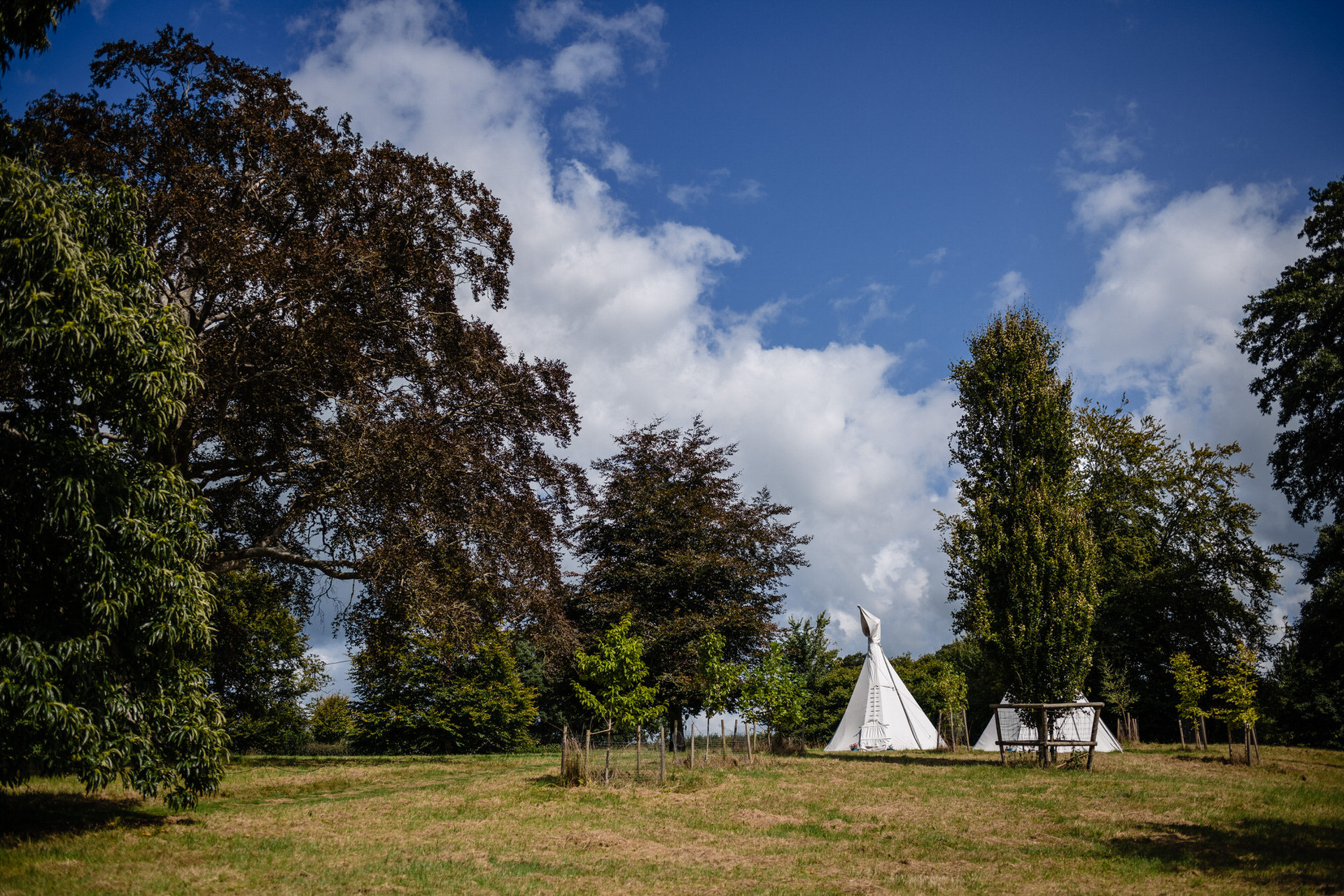 Glamping tipis at Pennard house Somerset