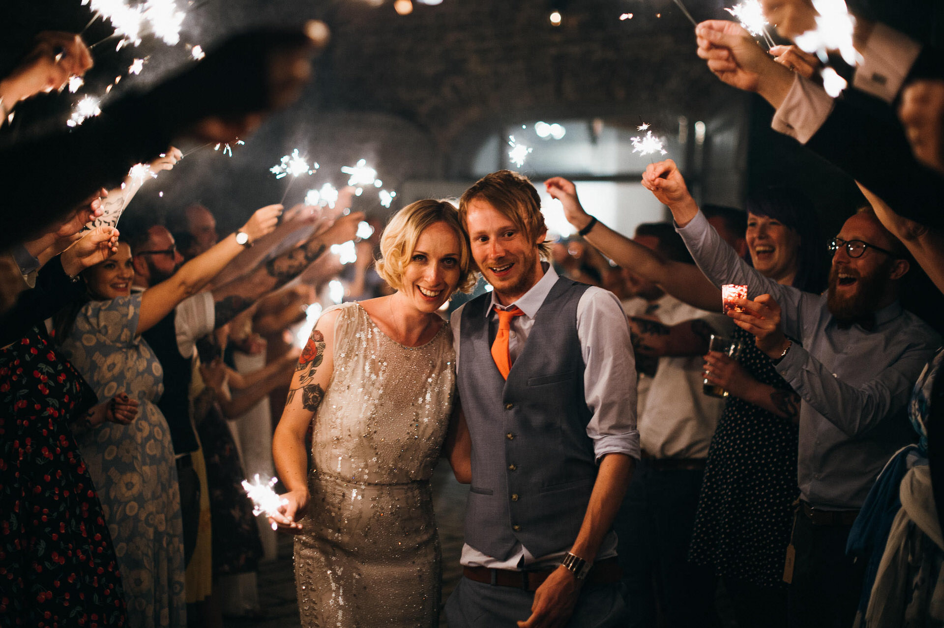 Pennard house wedding photography sparklers