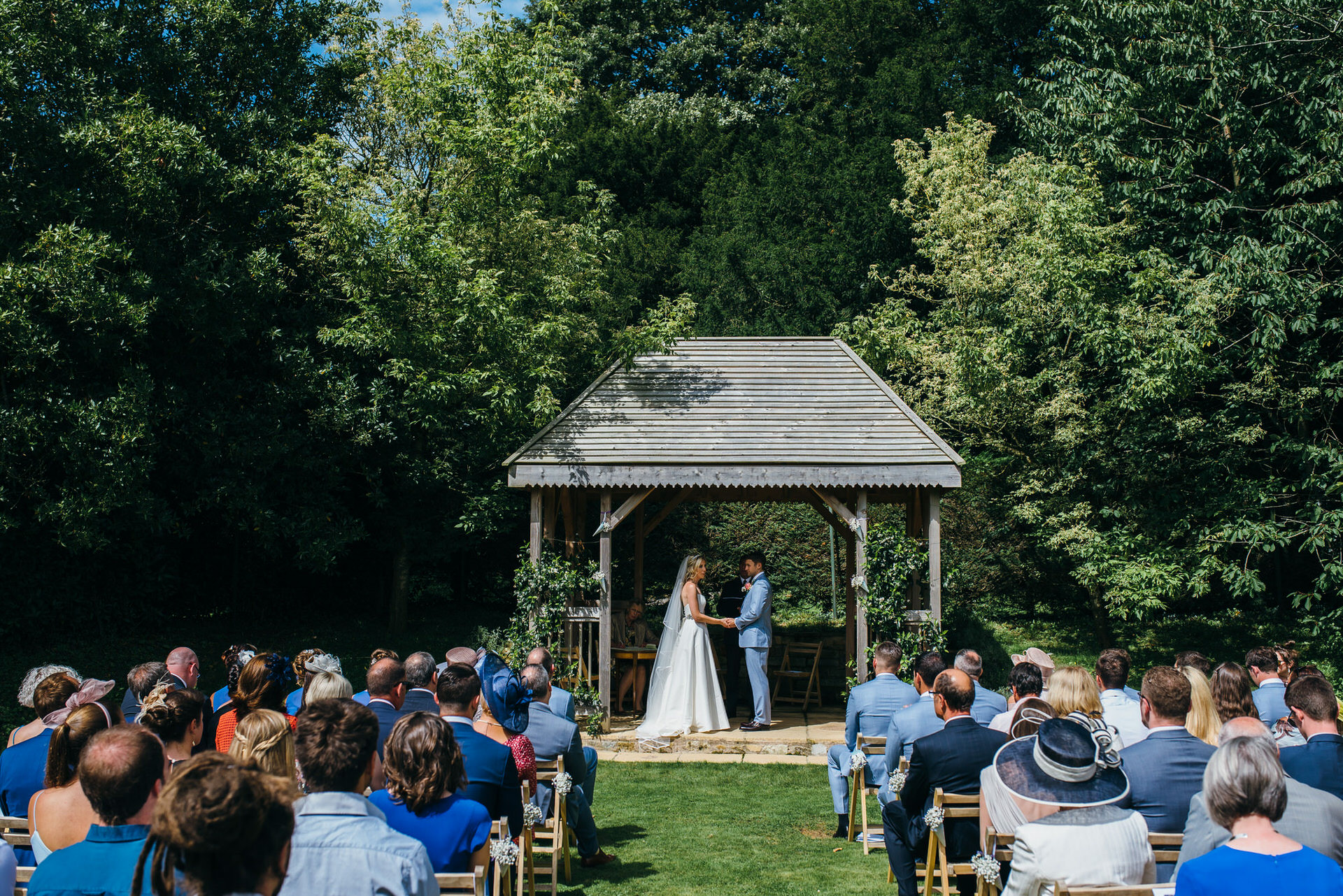 Civil wedding ceremony outside at Pennard house