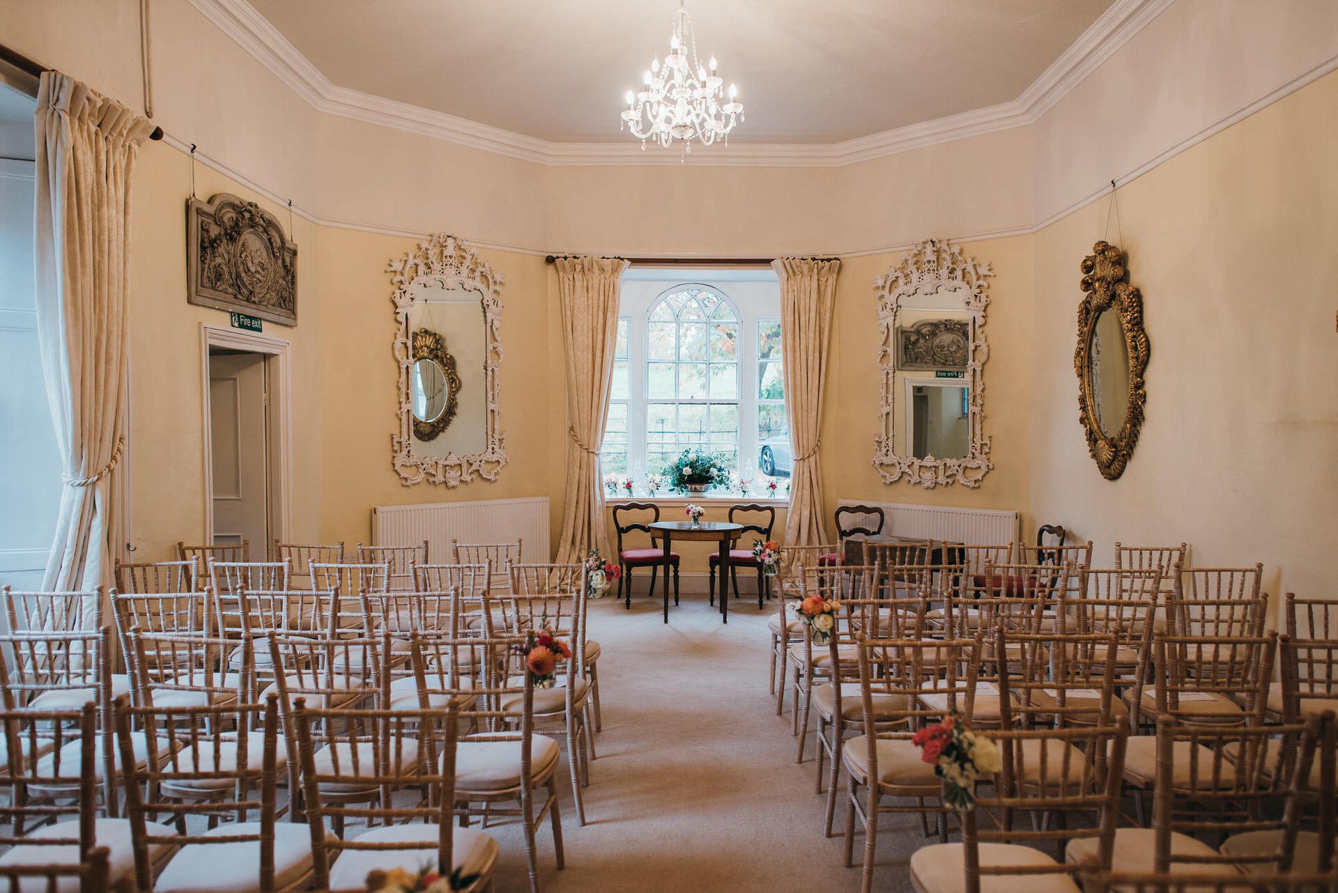 Civil wedding ceremony inside at Pennard house