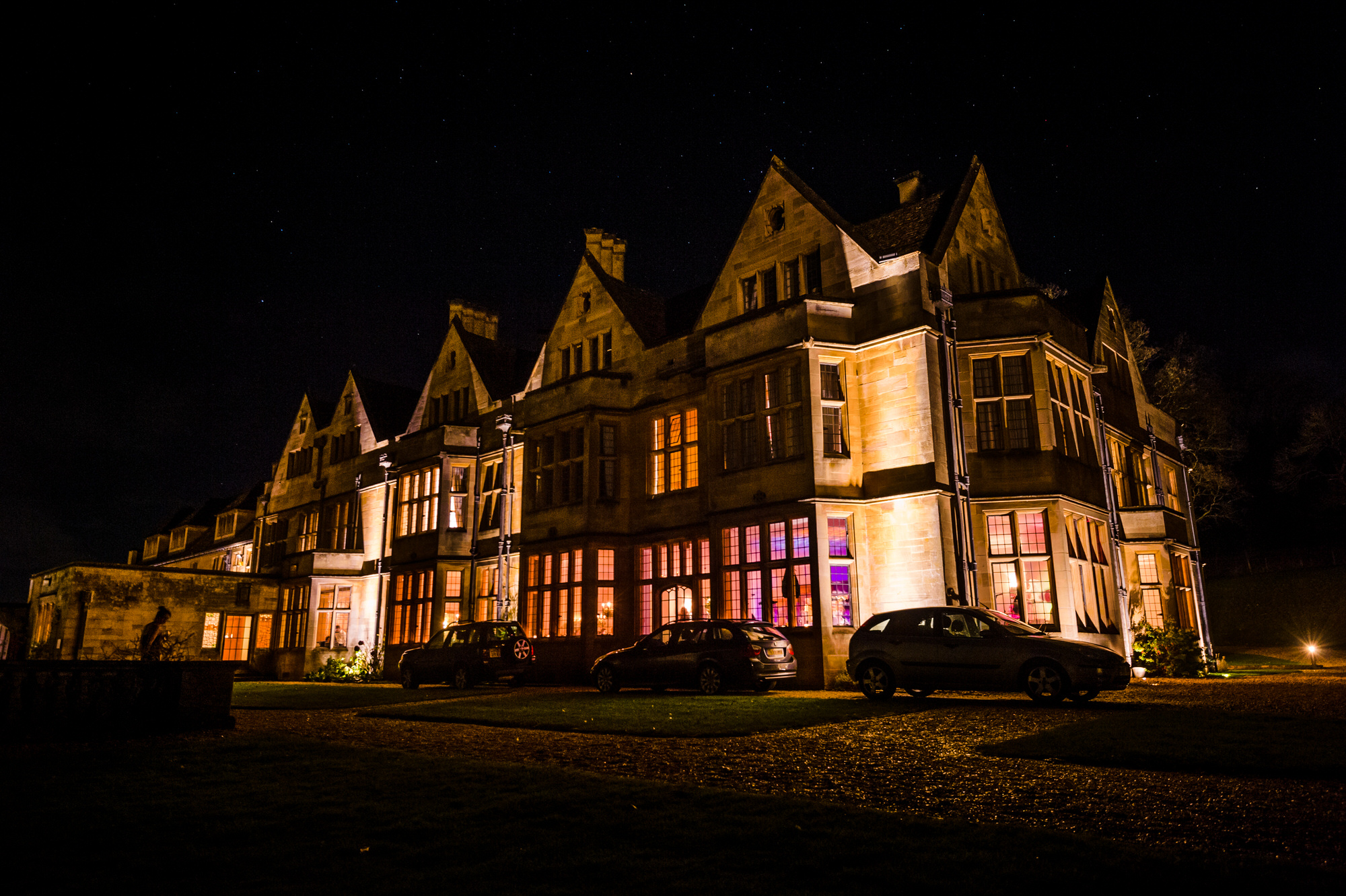 Coombe lodge wedding venue at night