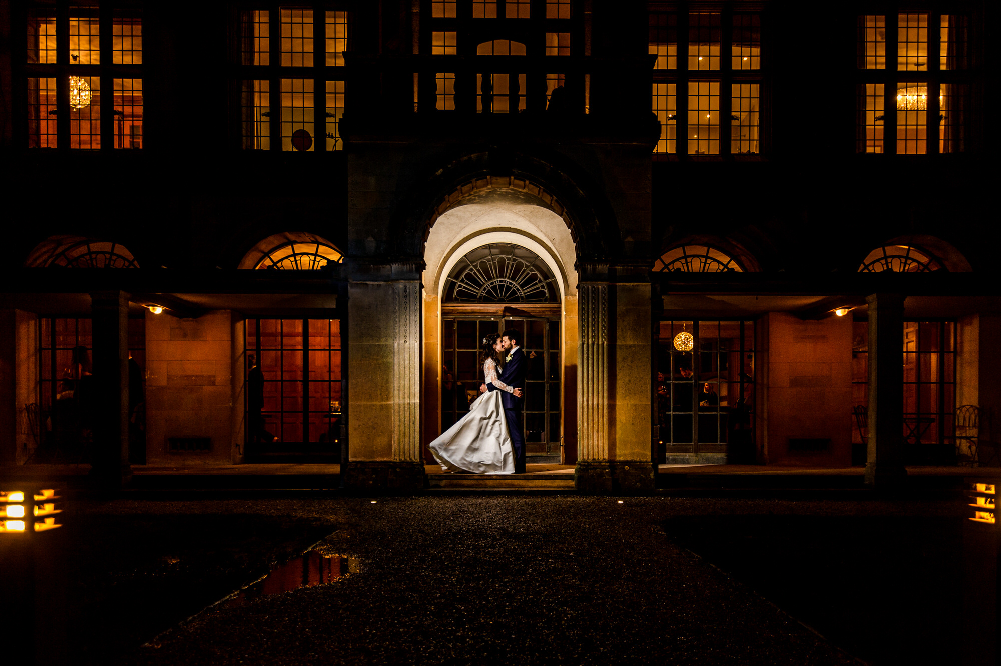 Coombe lodge wedding venue night portrait