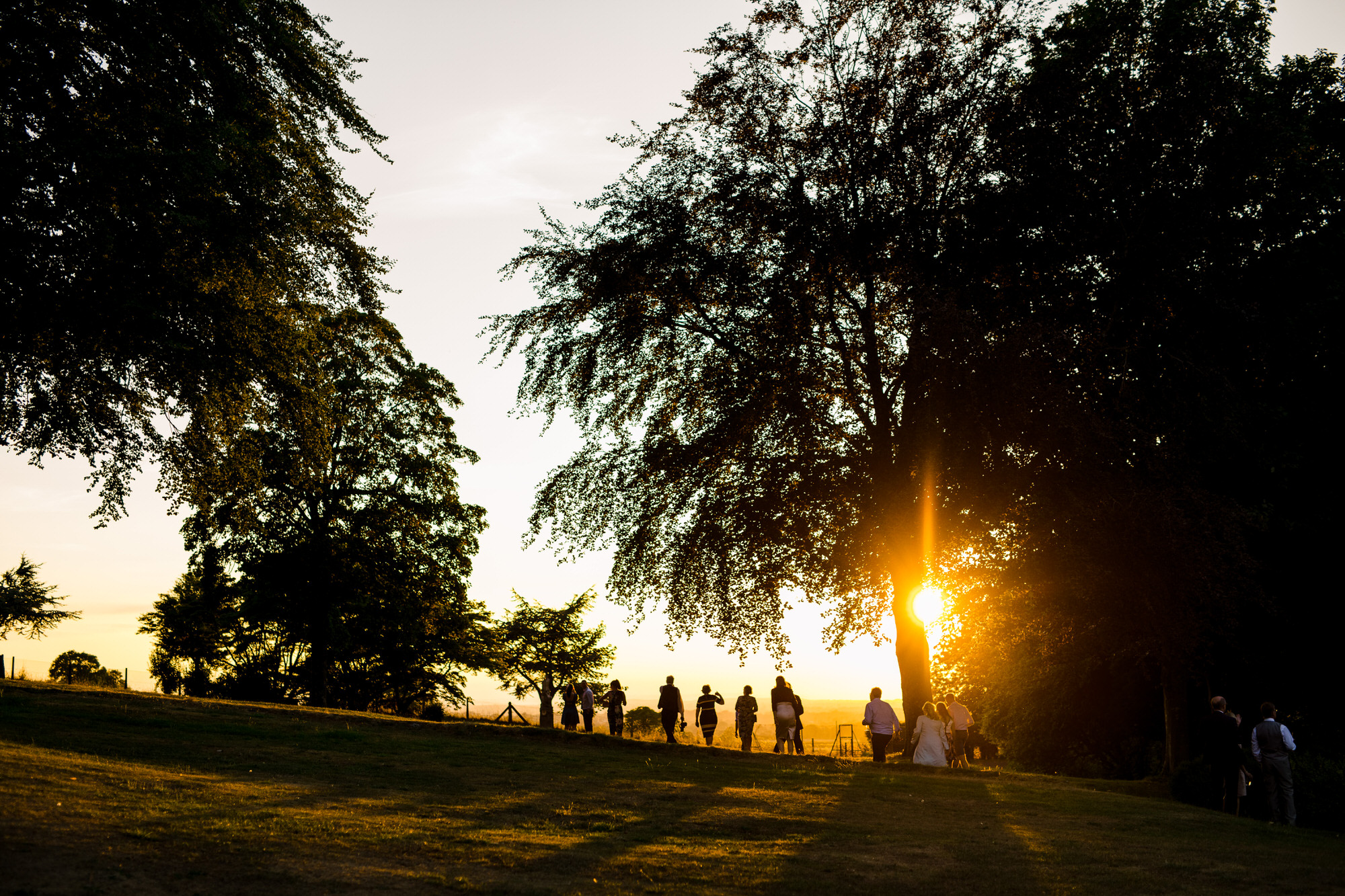 Sunset at Coombe lodge wedding venue