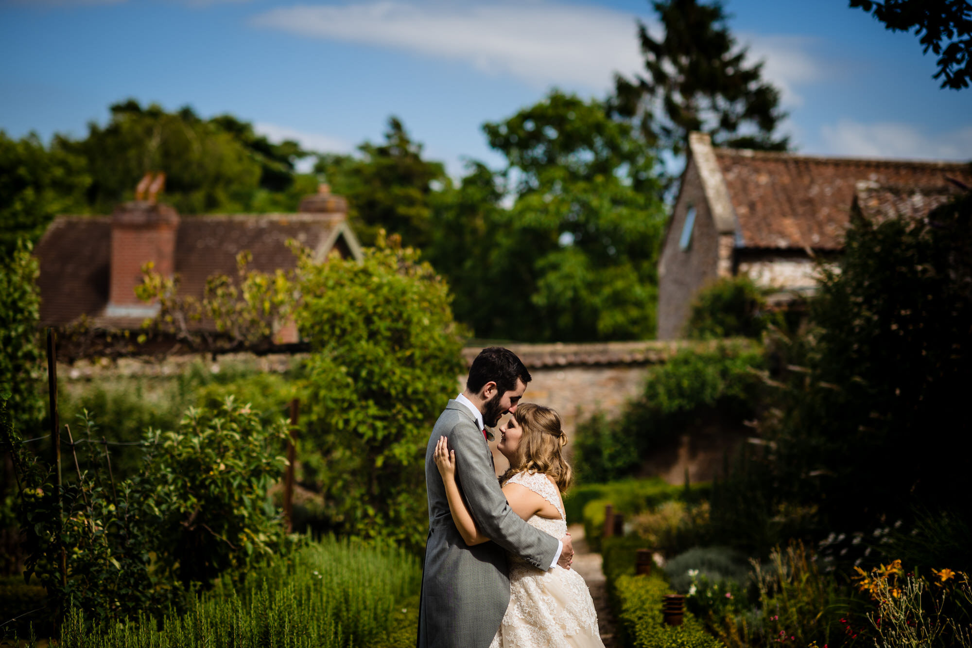 Coombe lodge wedding couple portrait in gardens