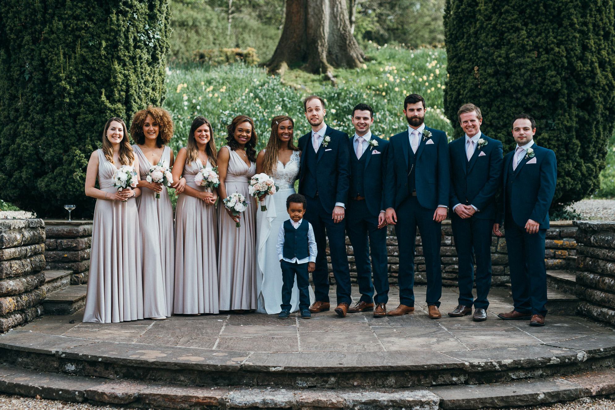 Coombe lodge wedding group photo