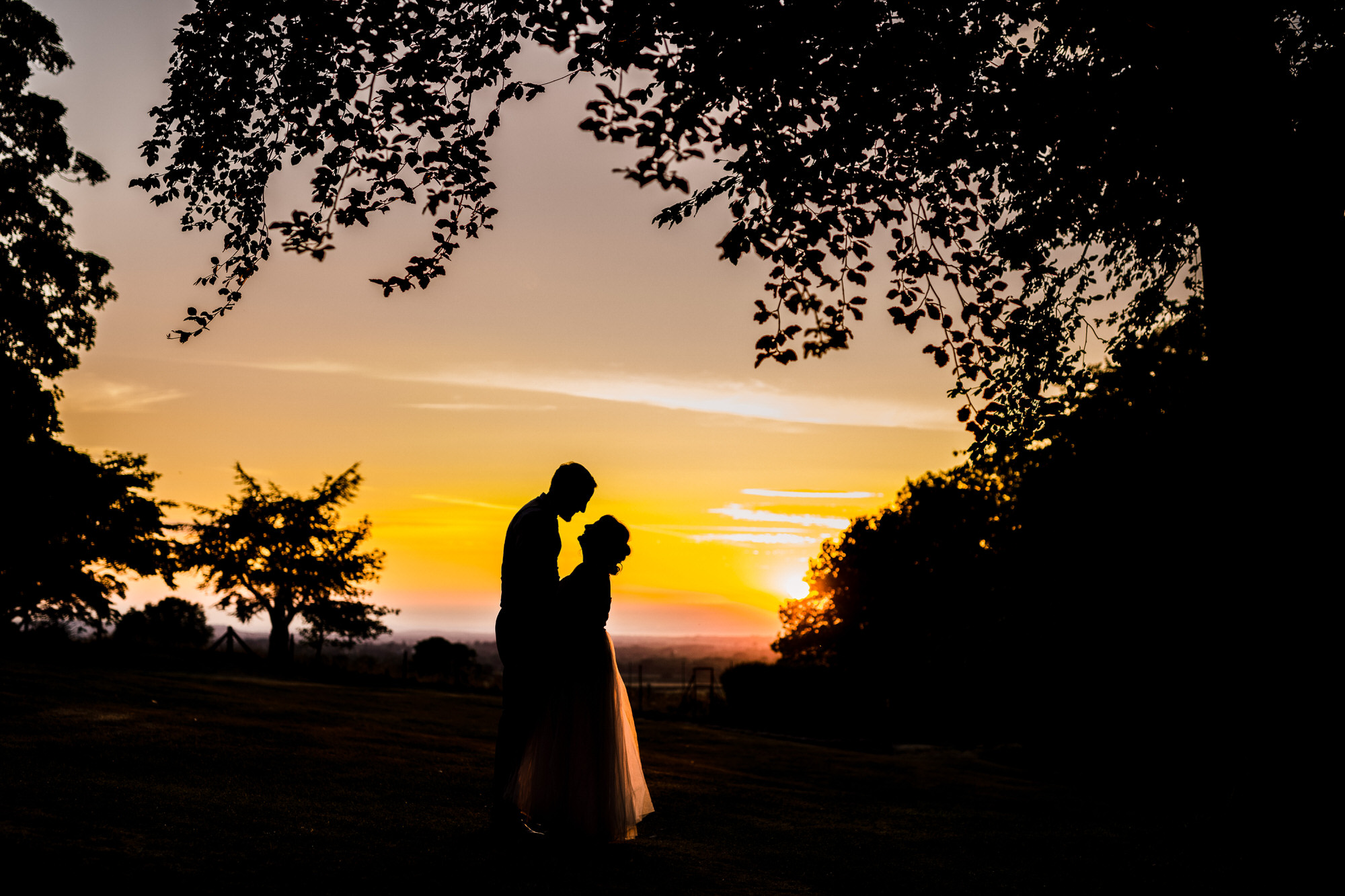Coombe lodge wedding sunset