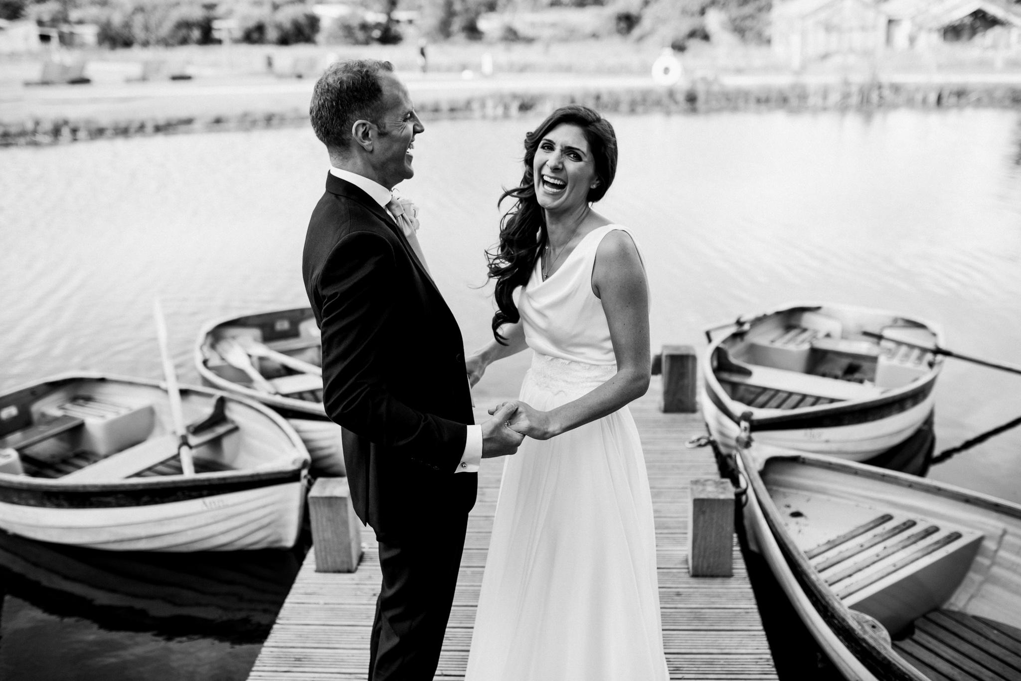 Soho farmhouse newlyweds on dock