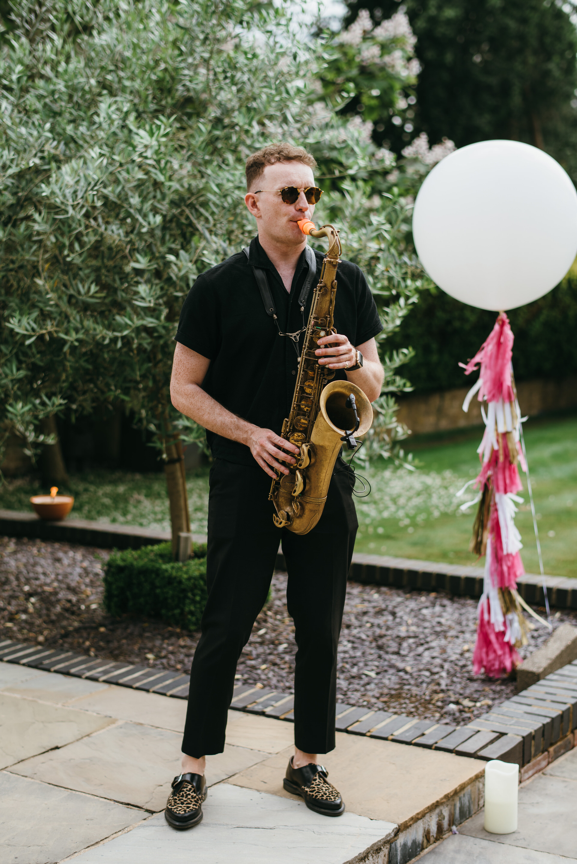 Saxophonist at wedding reception