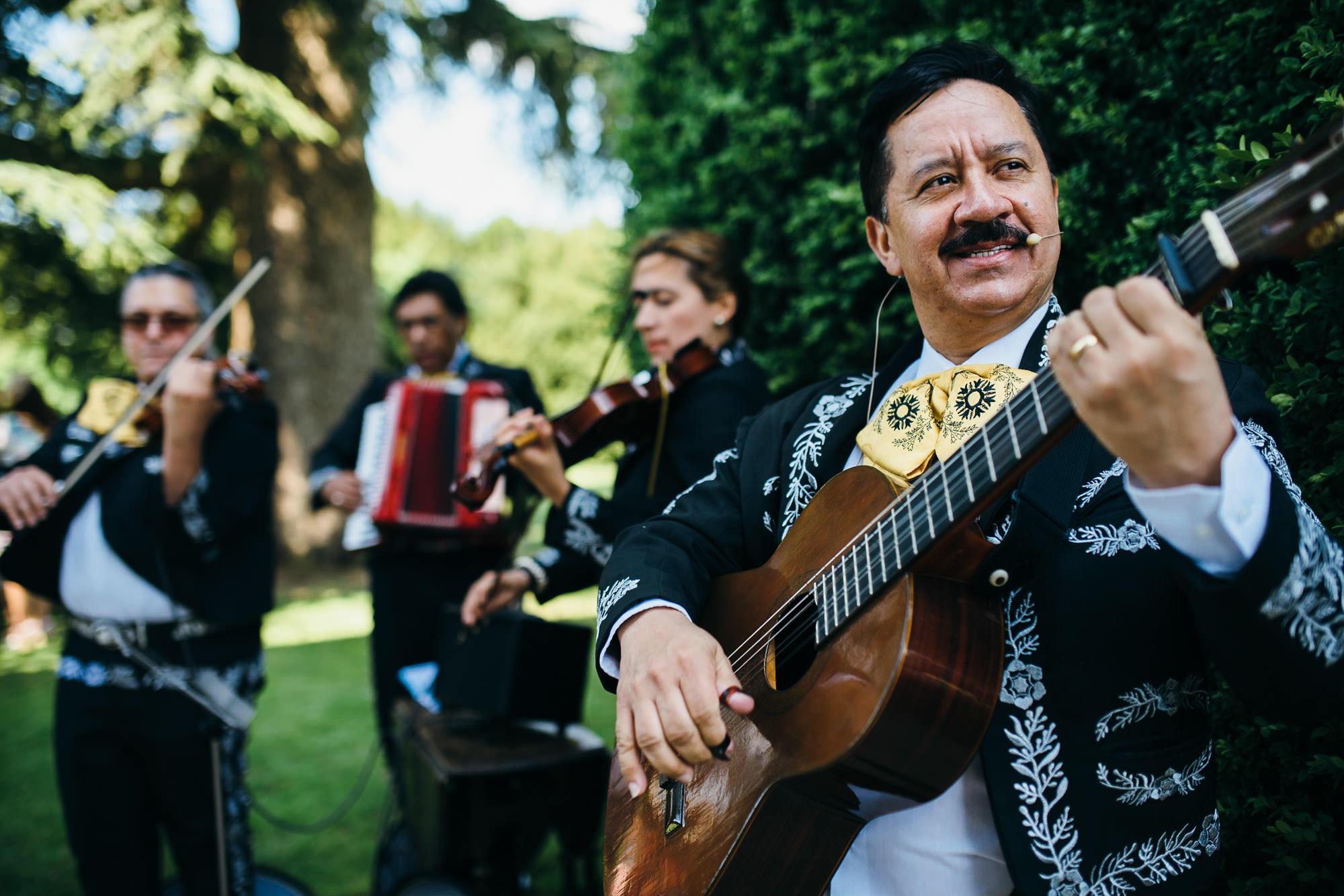 Mariachi band playing at wedding