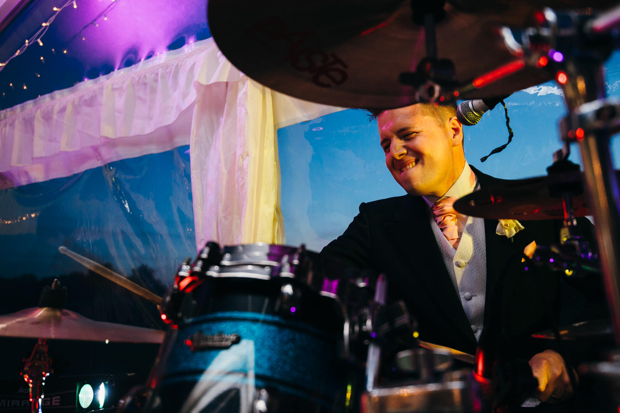 Richard Laws drumming with band