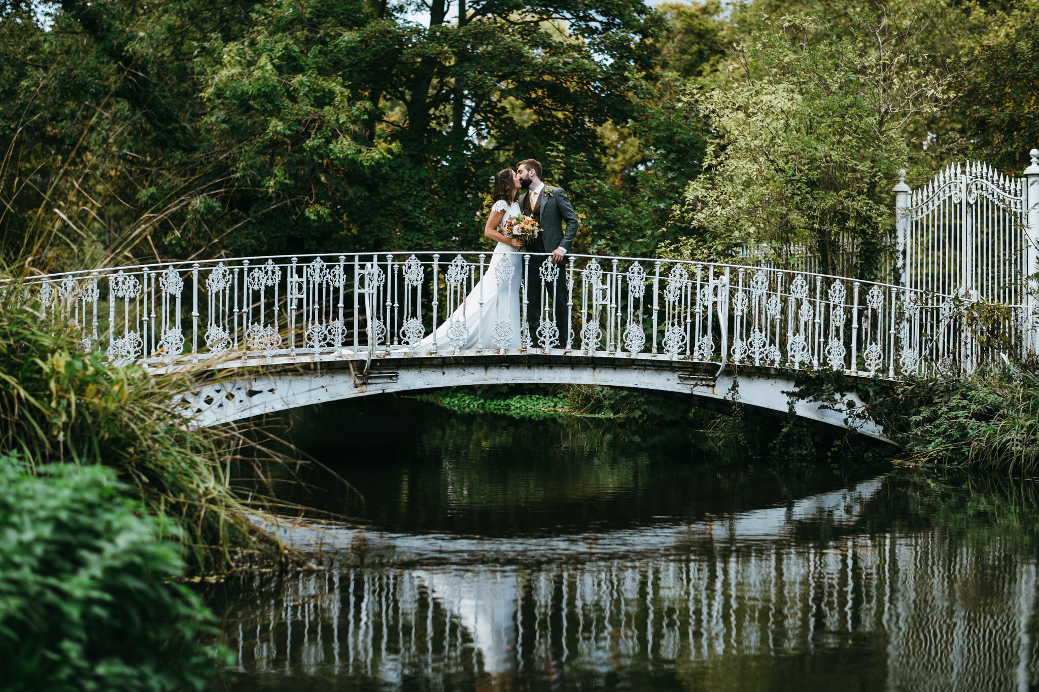 Morden hall couple on bridge