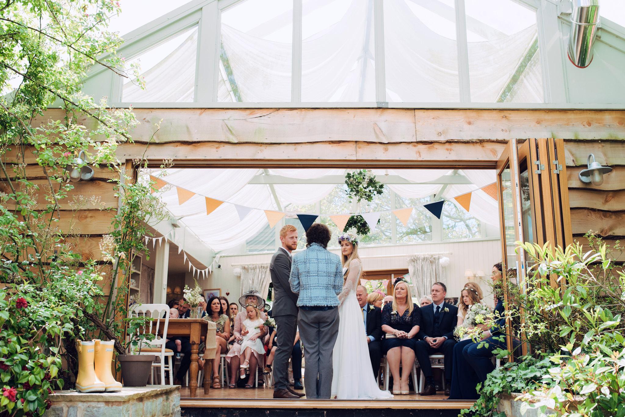 Huntstile organic farm wedding ceremony