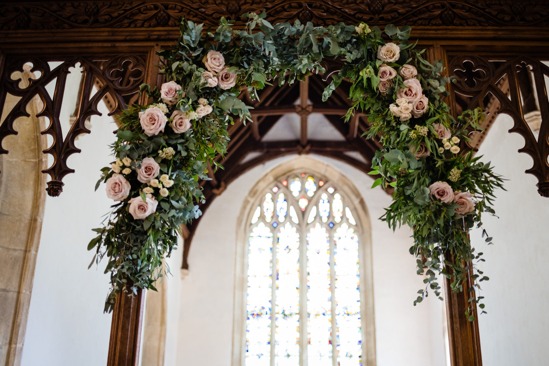 Wedding flower arch in church