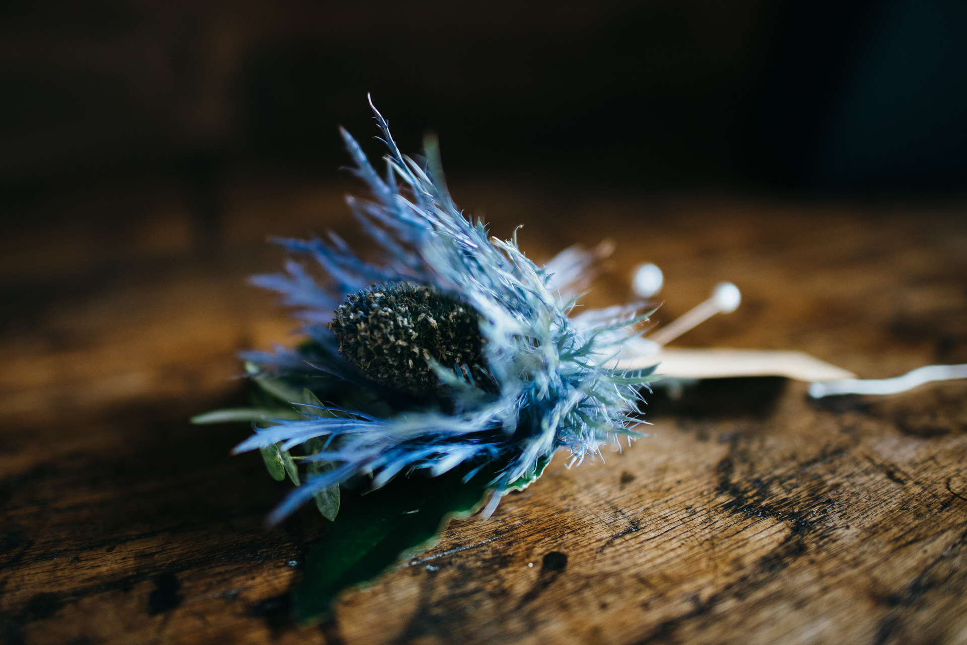 Thistle wedding button hole