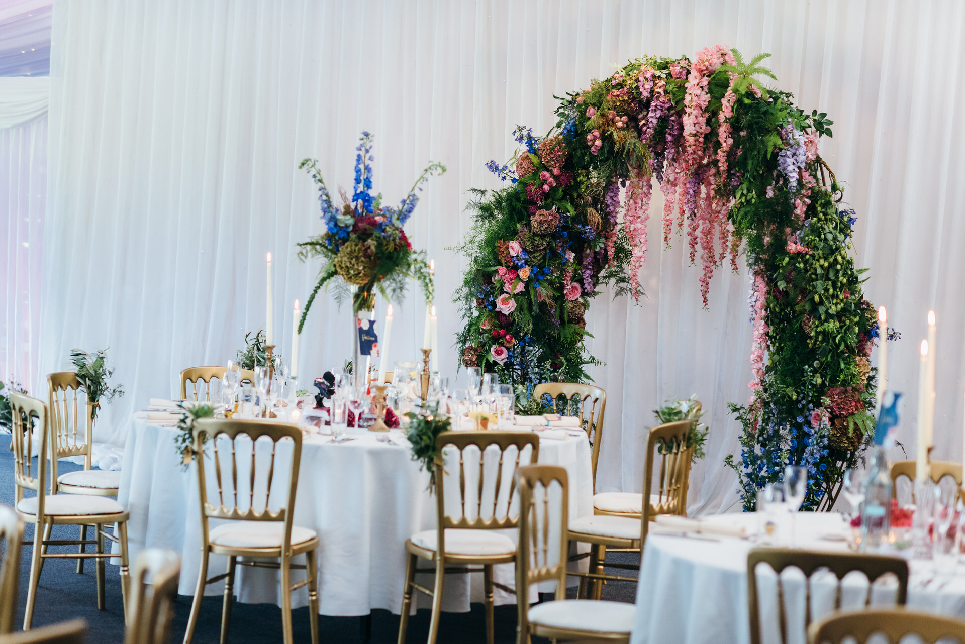 Floral arch at wedding