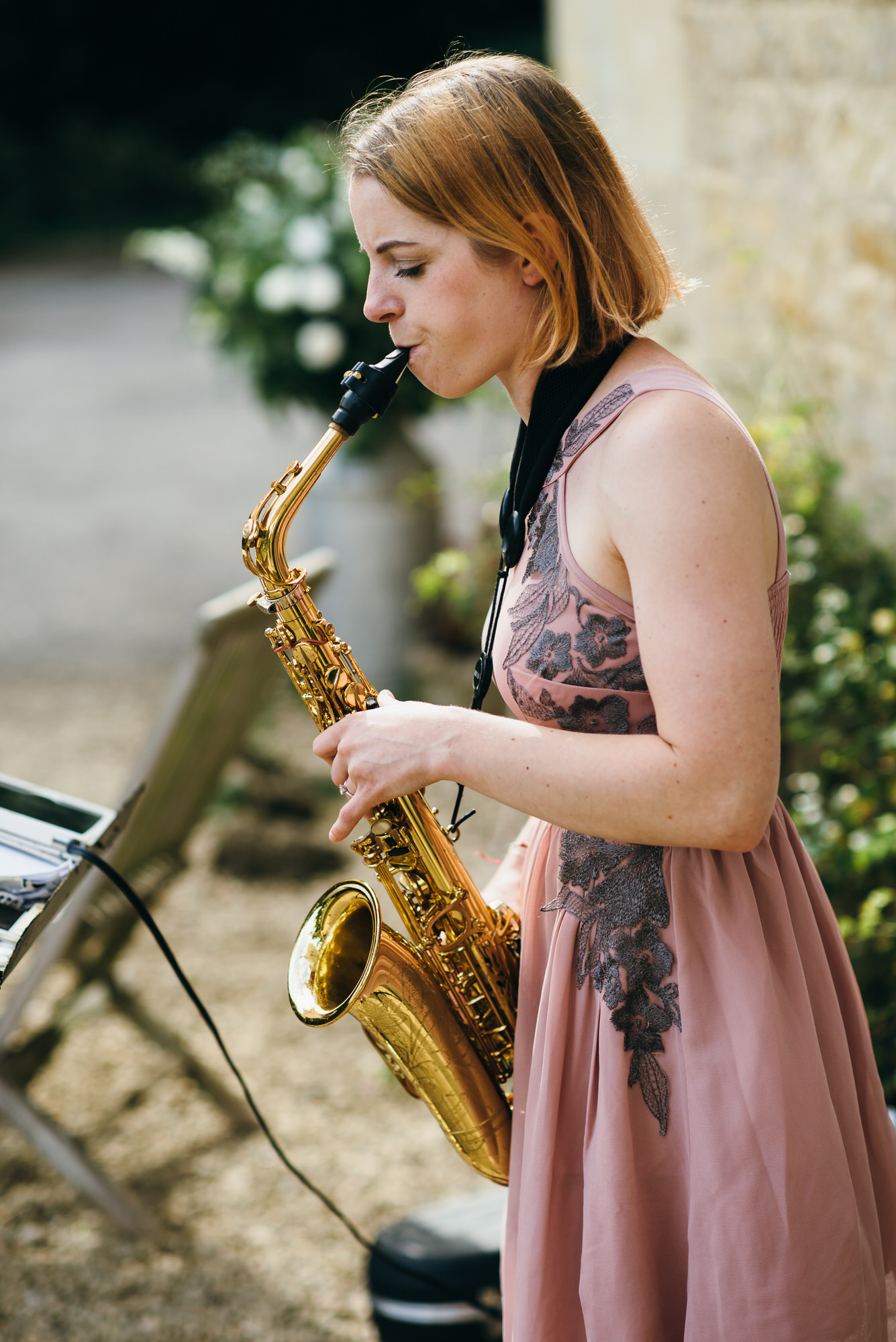 Saxophonist at Homewood Park wedding