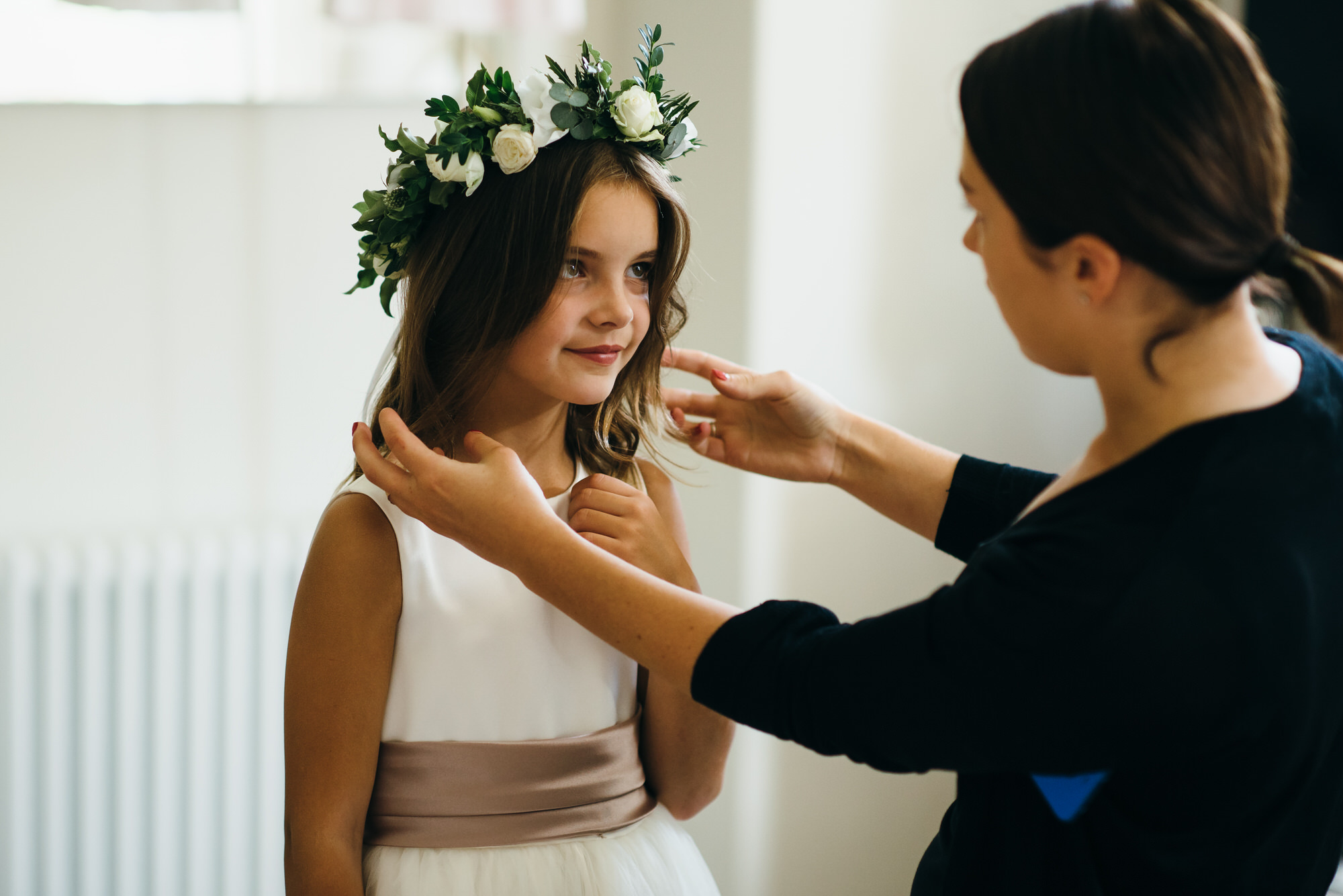 Flower girl wedding prep