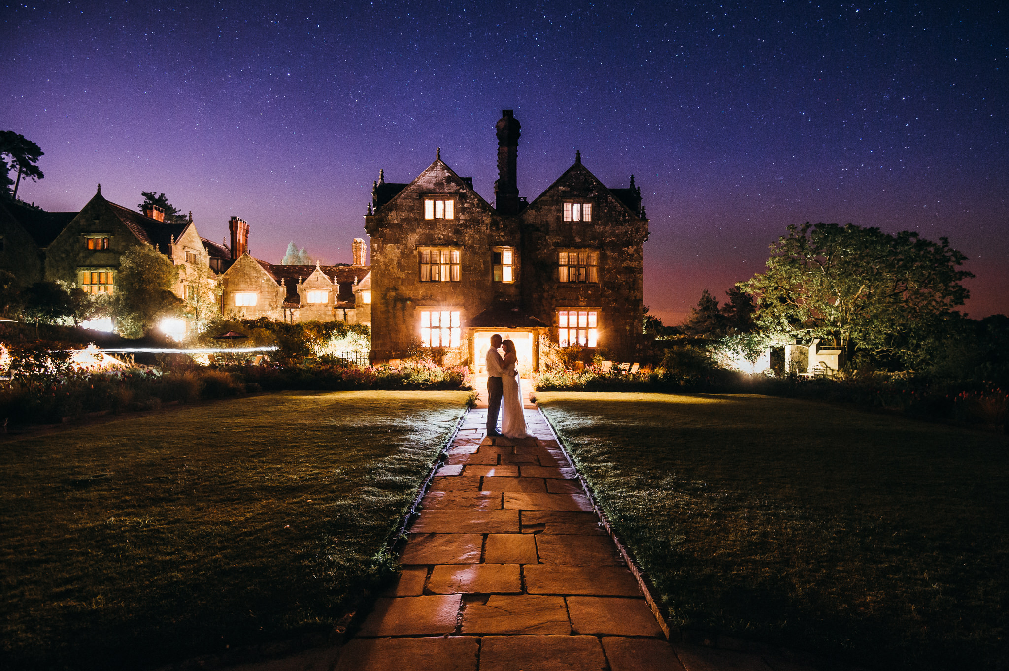 Gravetye Manor at night
