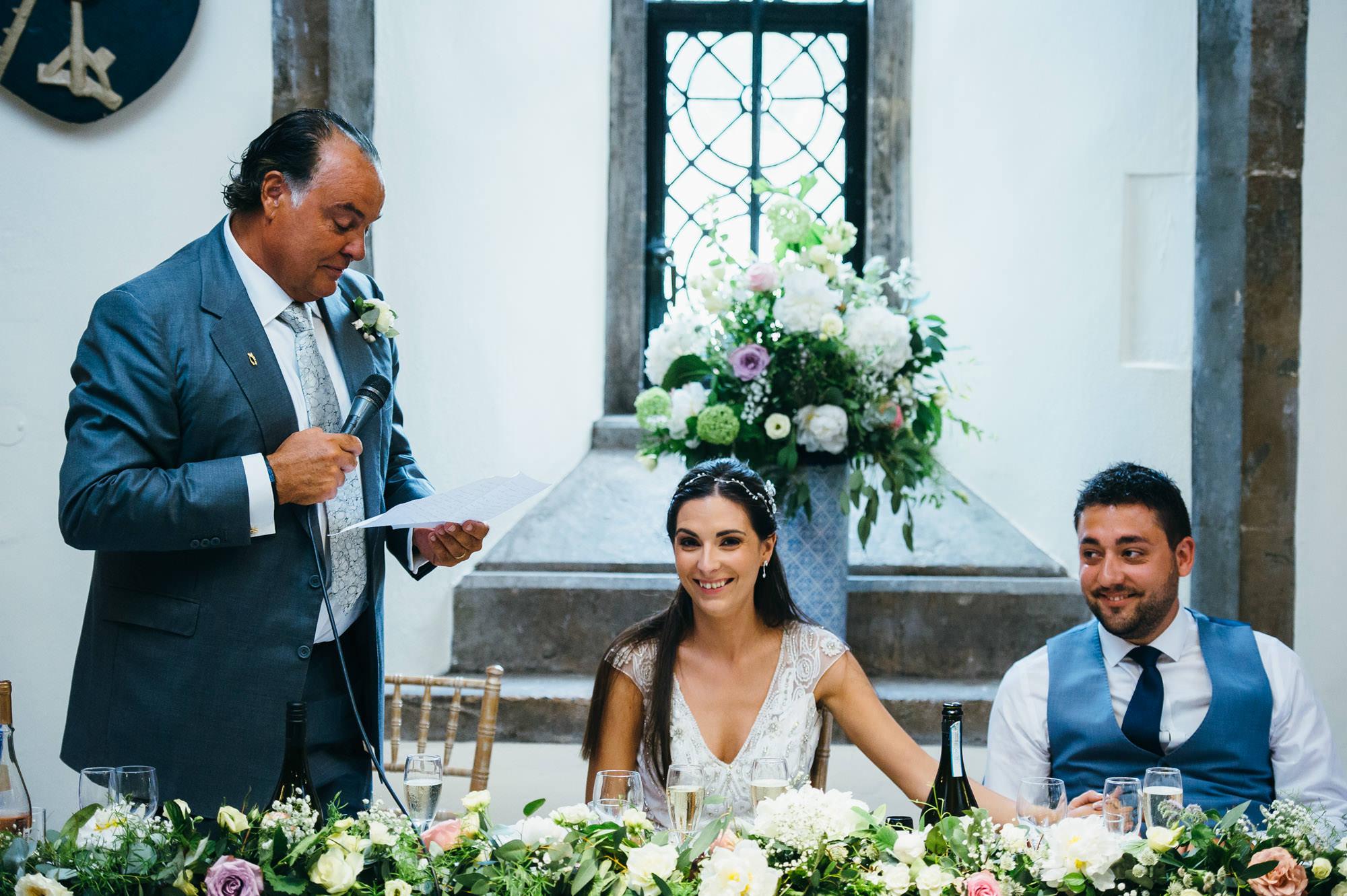 Wedding speeches at Bishops Palace