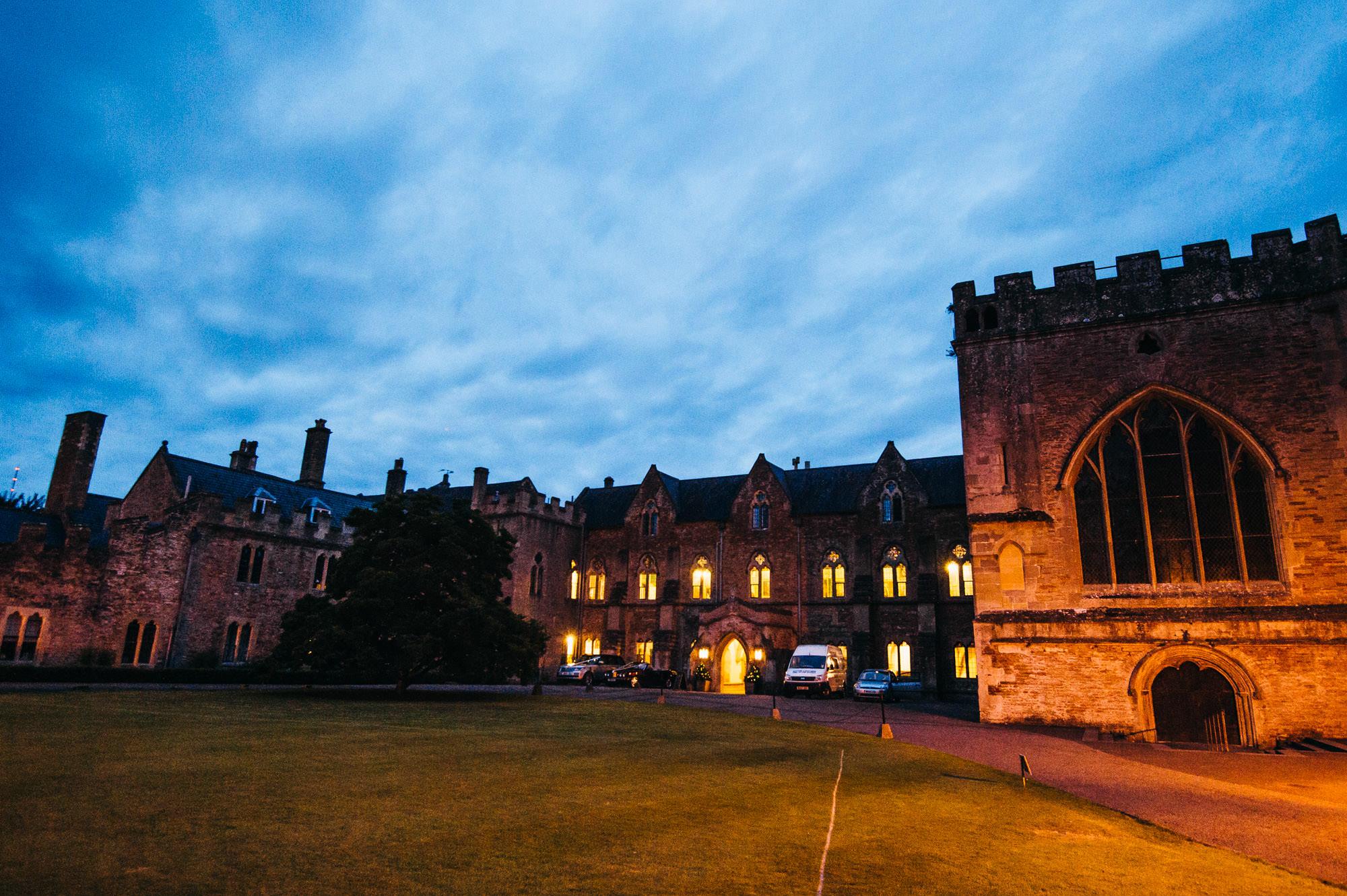 Bishops palace wedding venue at night