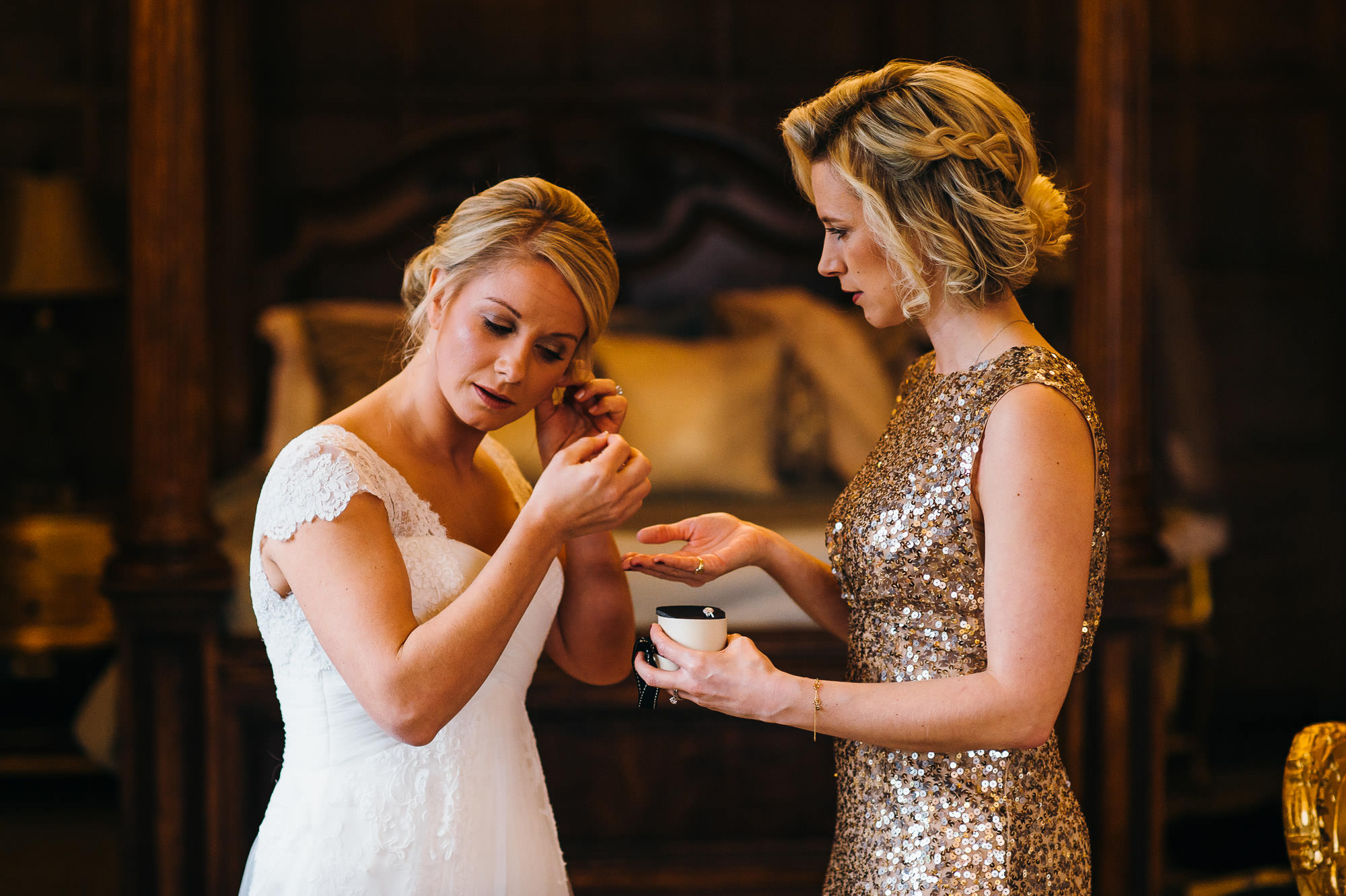 Bride at Hengrave hall winter wedding