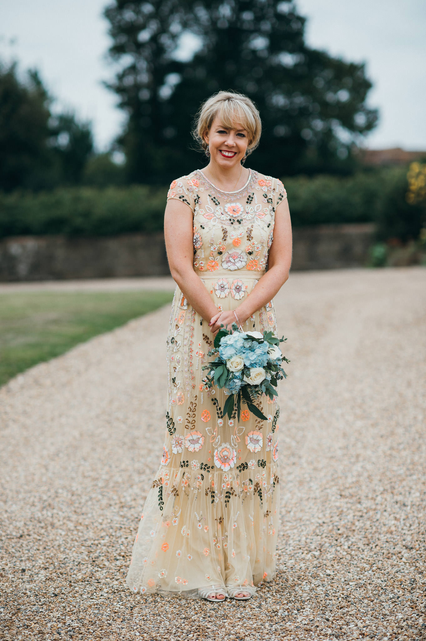 Colourful wedding dress with sequins