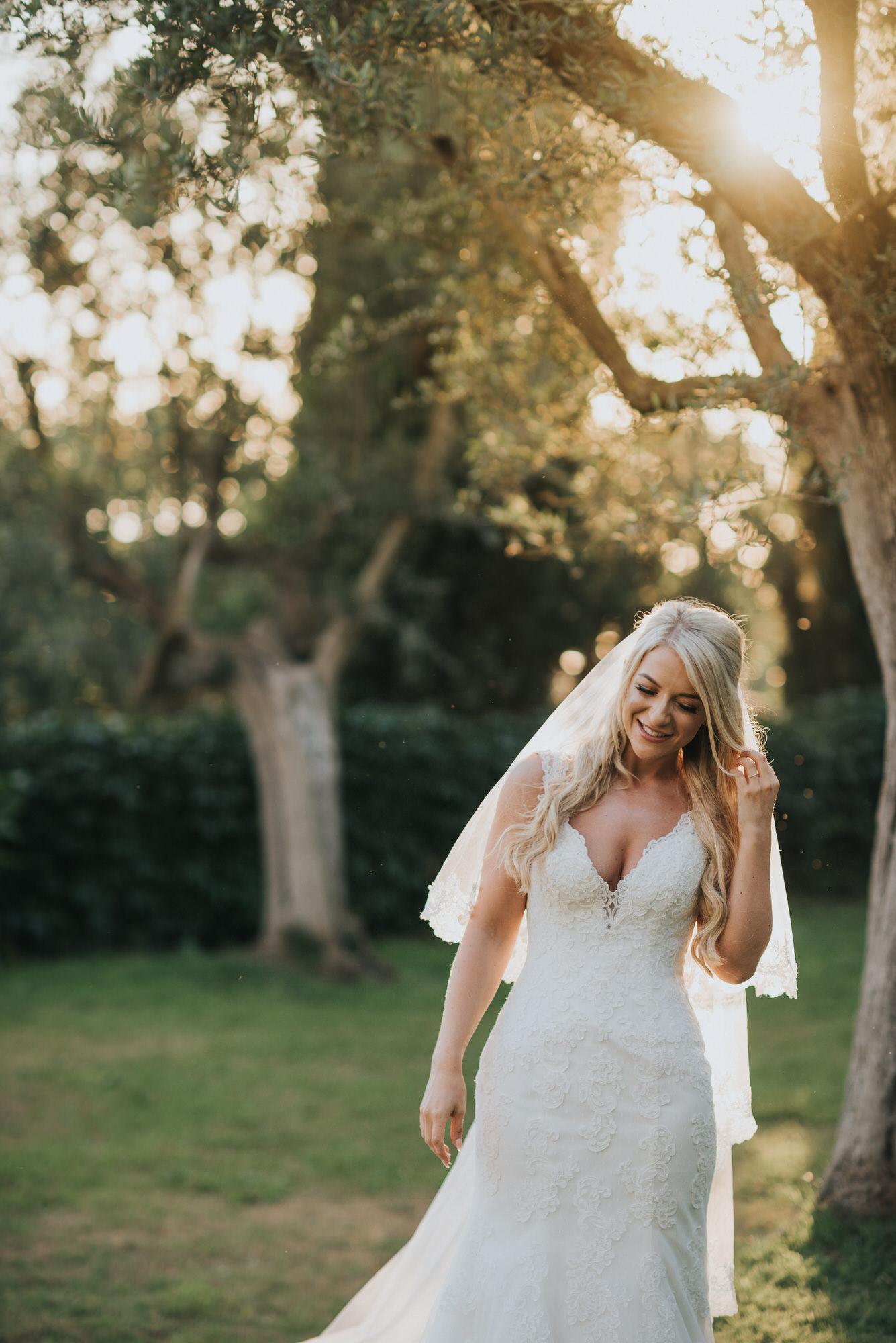 Golden hour bride with veil