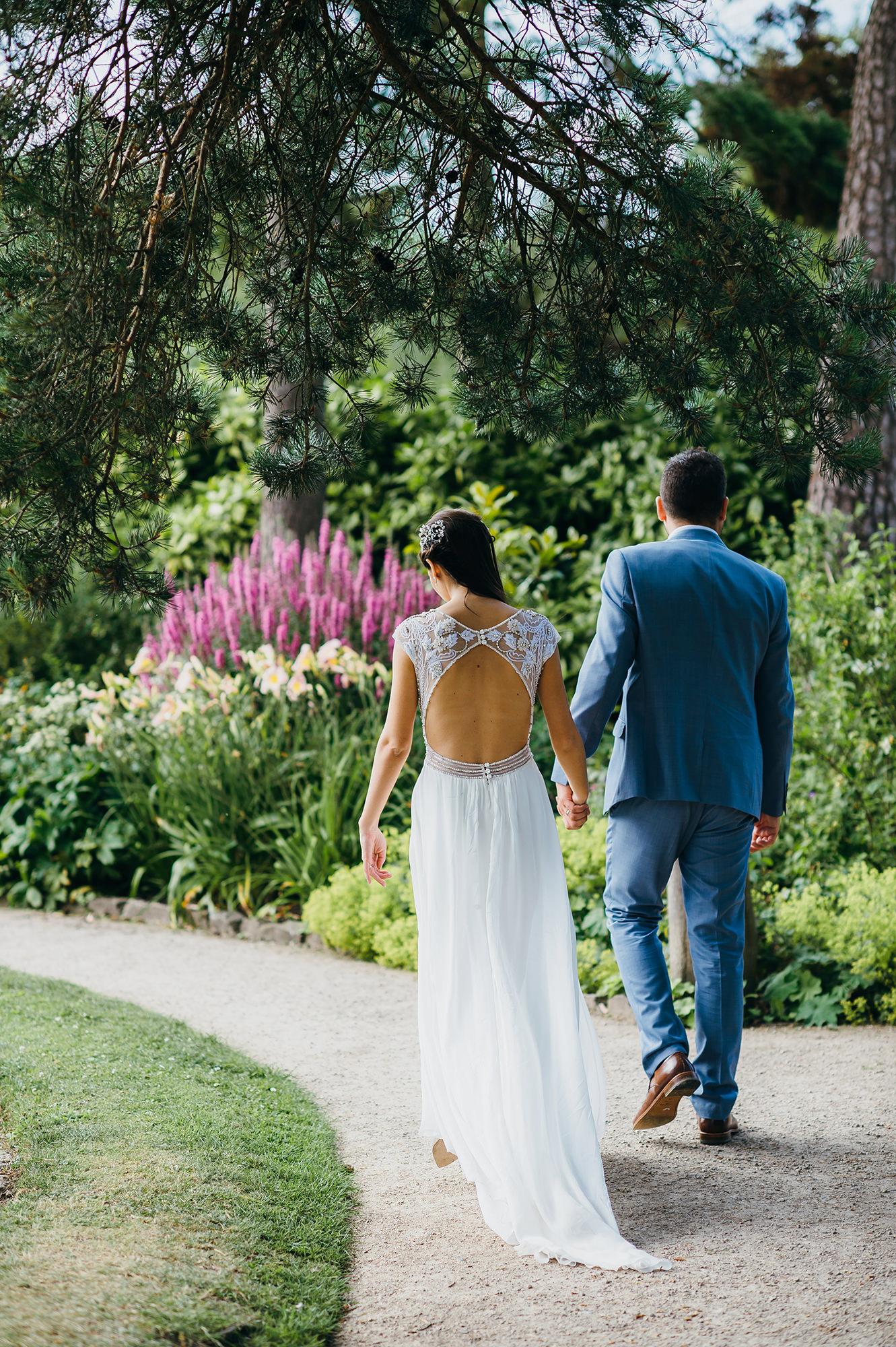 Open back on wedding dress