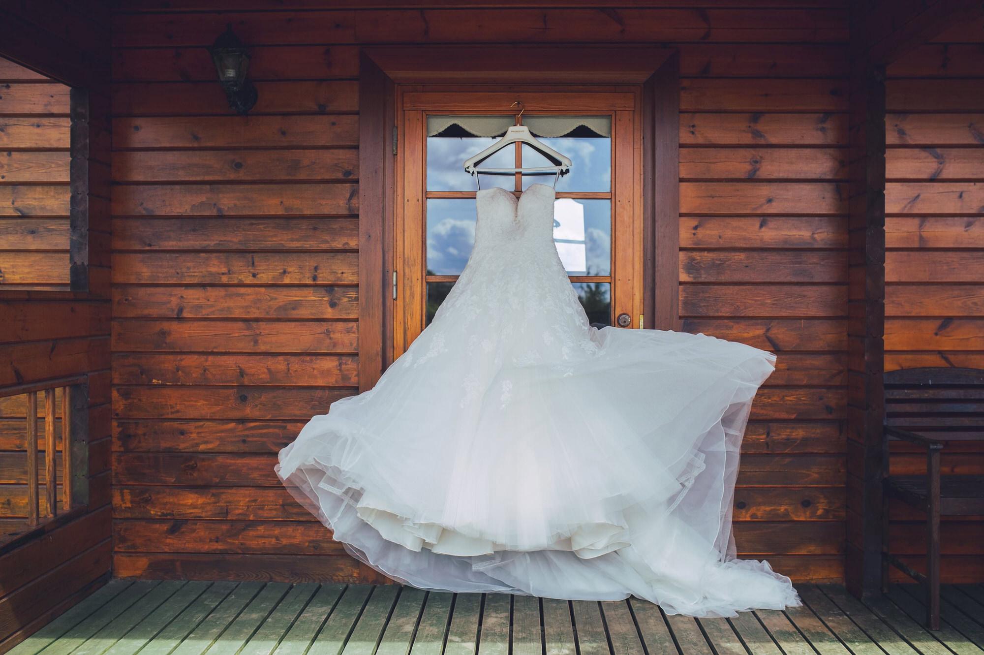 Wedding dress in the wind