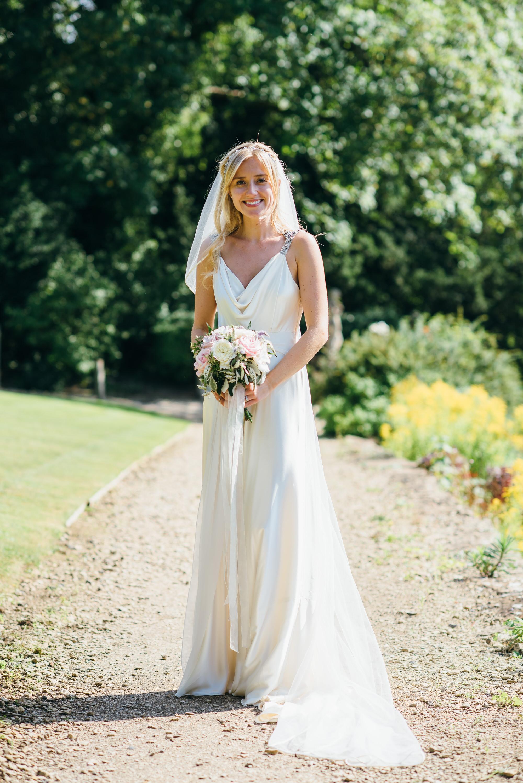 Wedding dress with shoulder detailing