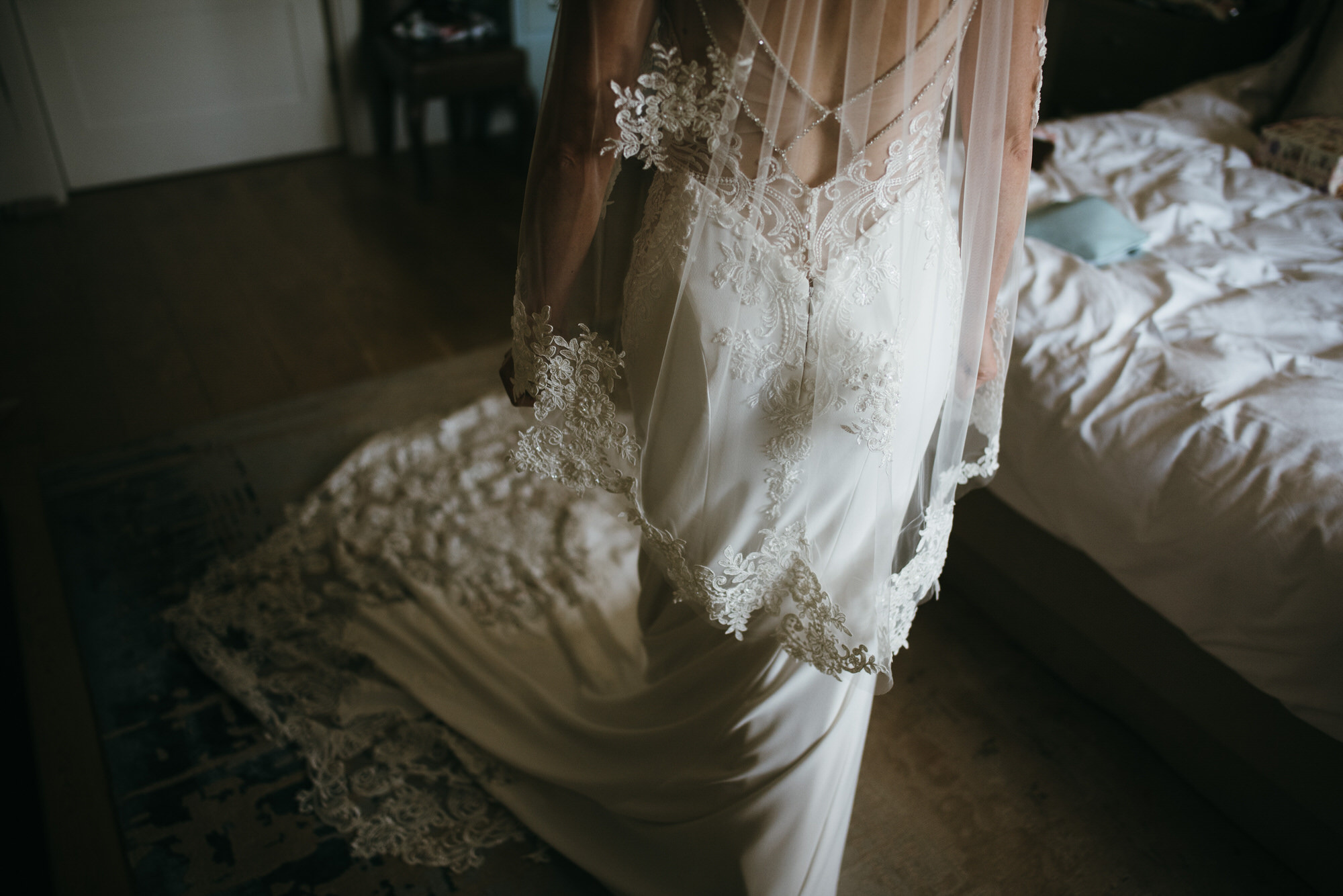 Bride dress detail Coworth Park