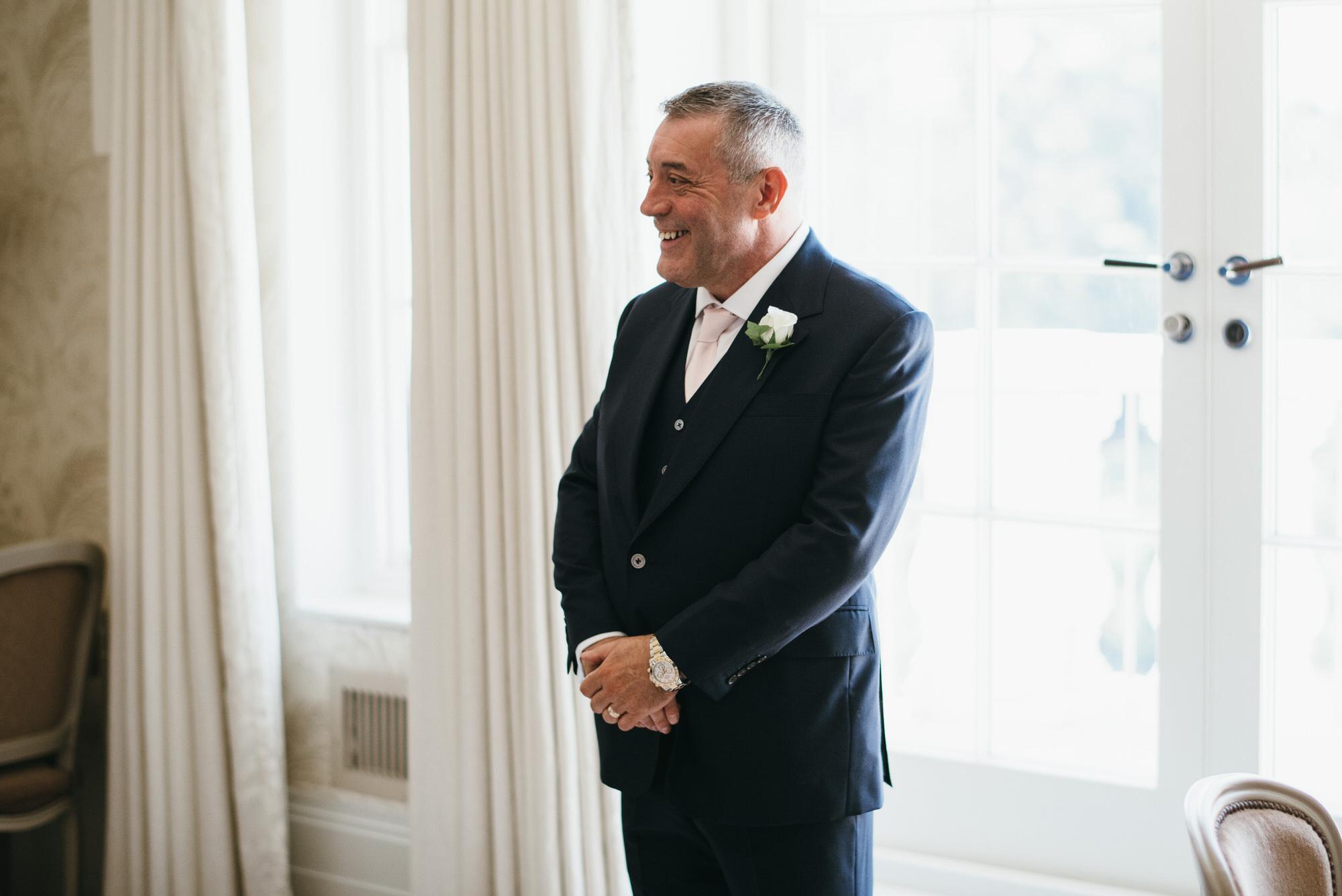 Dad sees Bride in dress Coworth Park