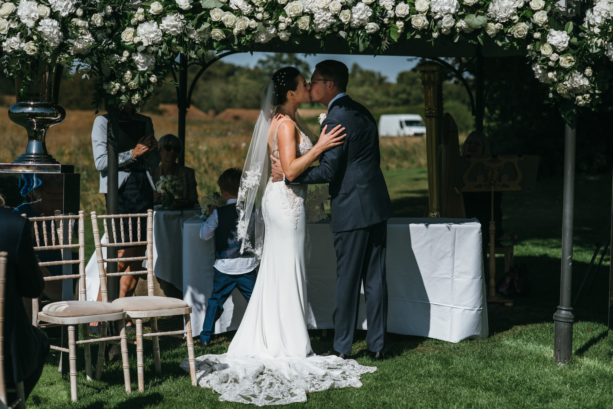 First kiss Coworth Park wedding