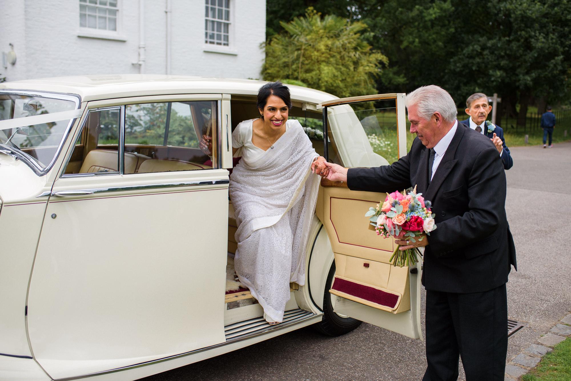 Bride arrives Pembroke lodge