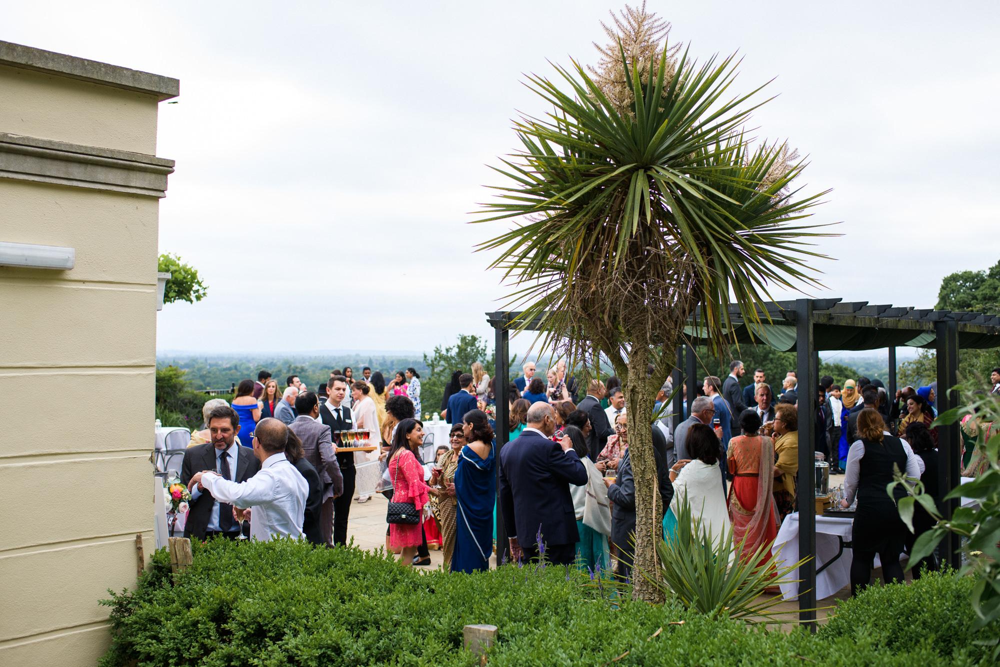 Pembroke lodge wedding drinks on terrace