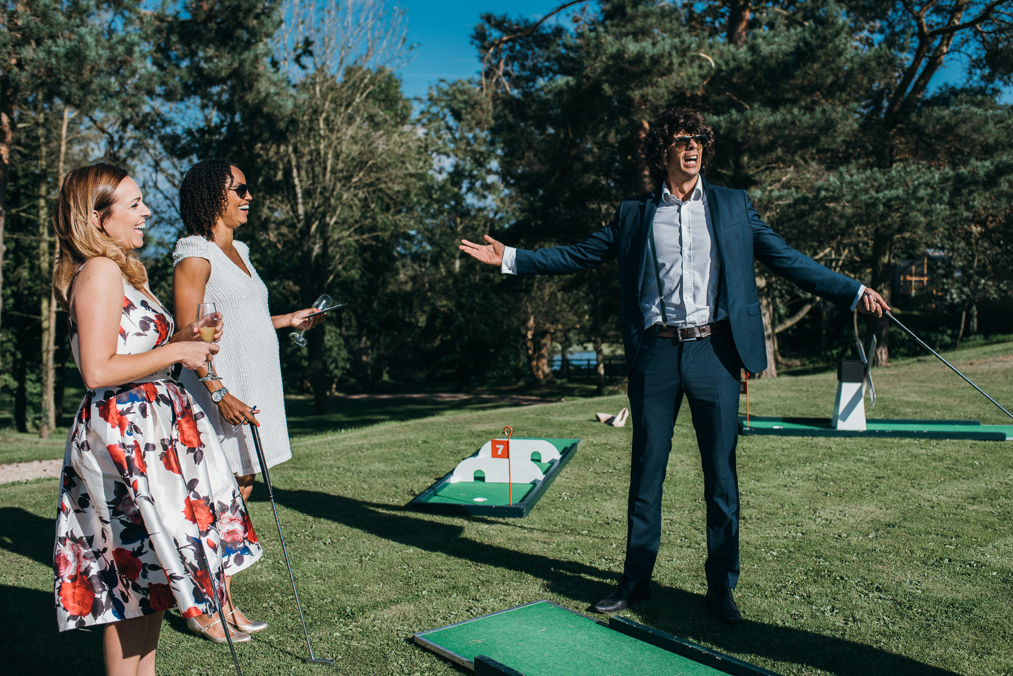 Crazy golf game at wedding