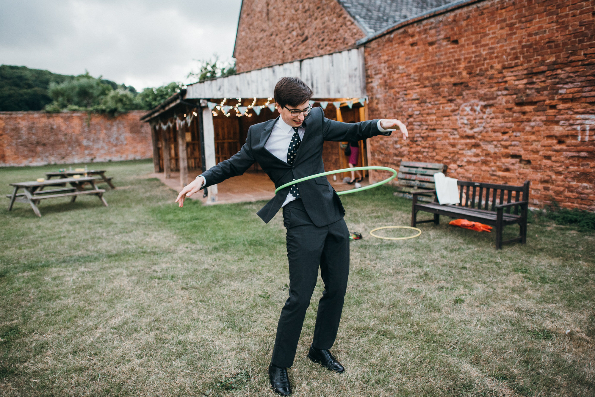 Hula hooping at wedding