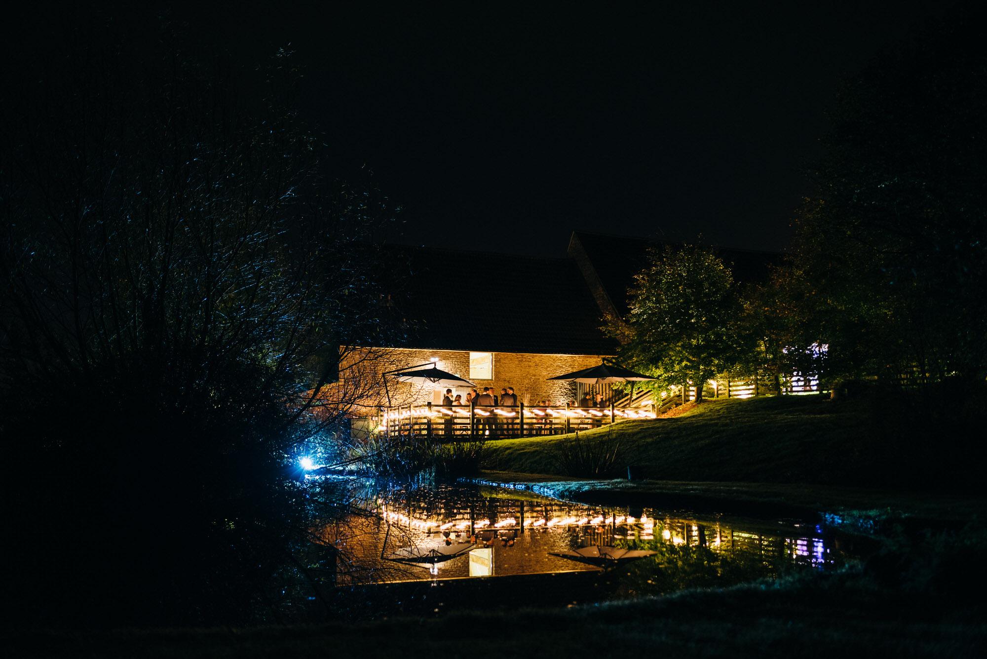 Wick farm at night