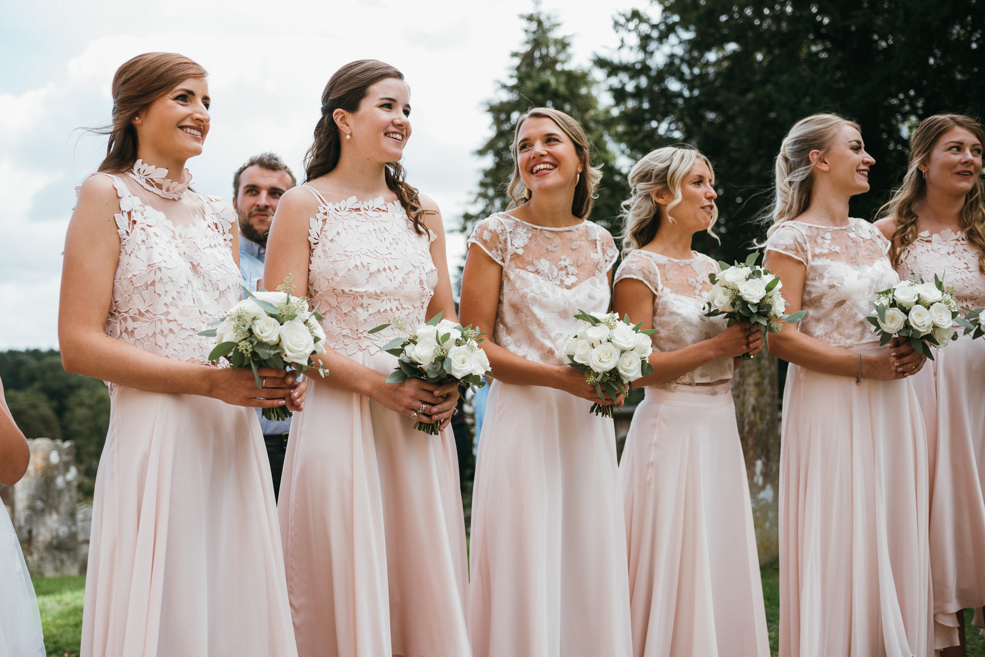 bridesmaids on wedding day