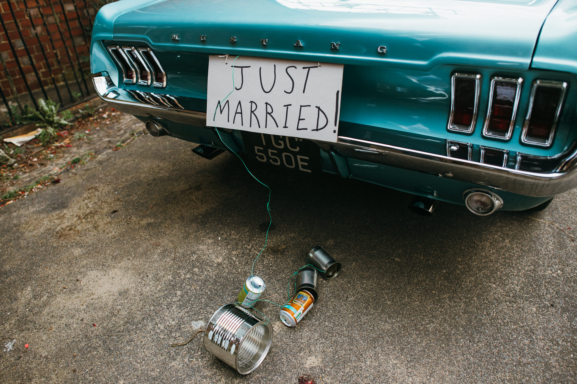 just married Mustang car