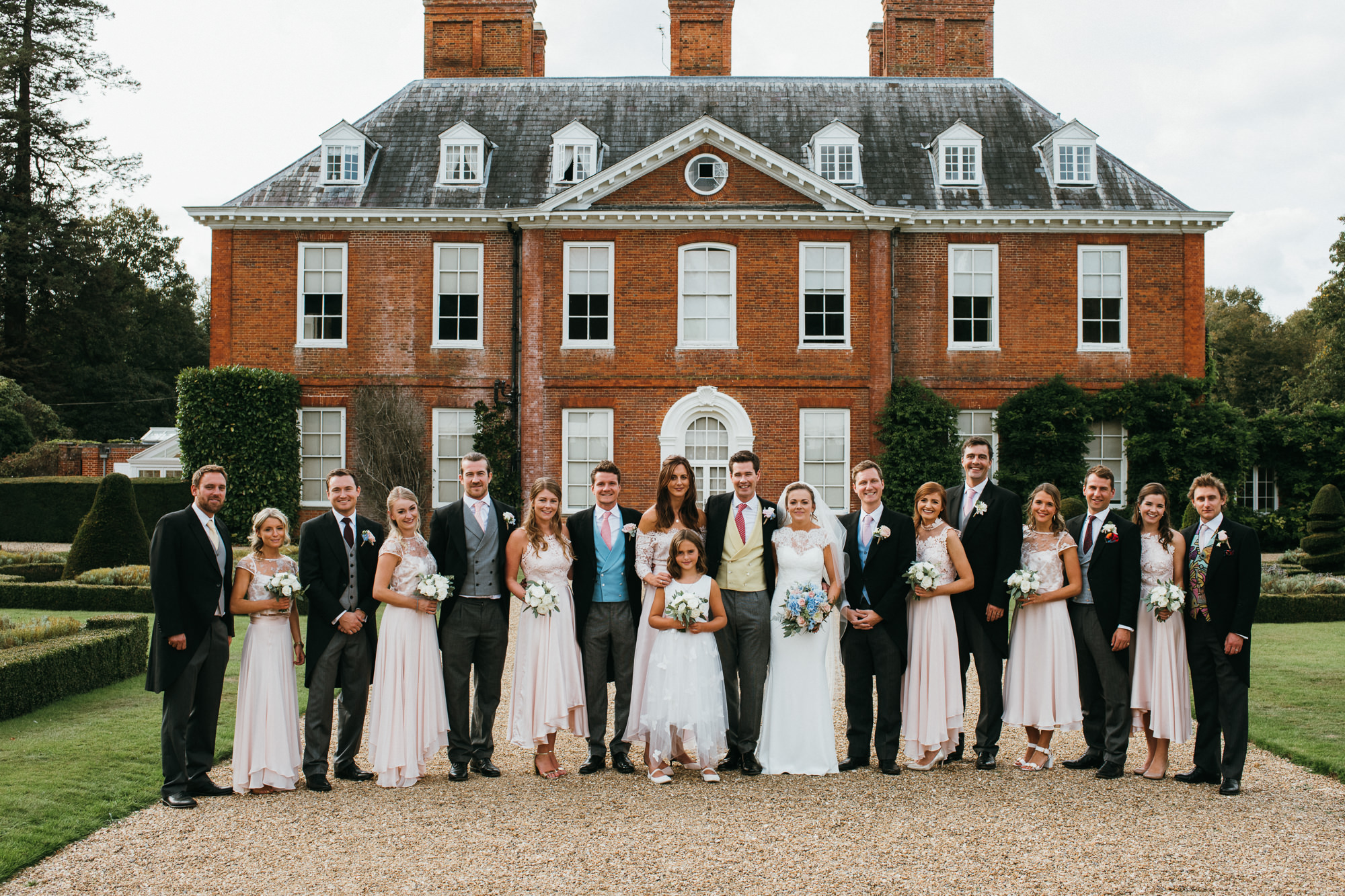 Squerryes court group wedding photo