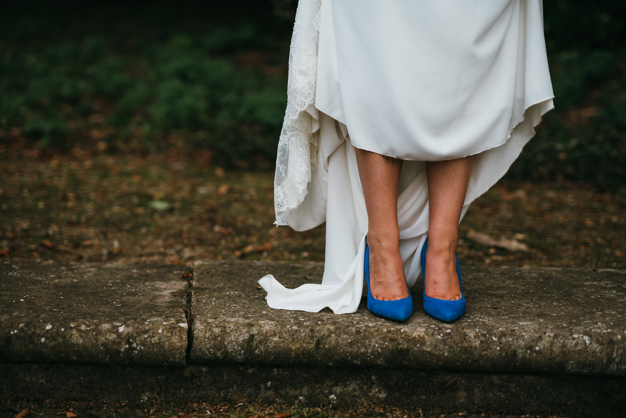 Bride blue shoes