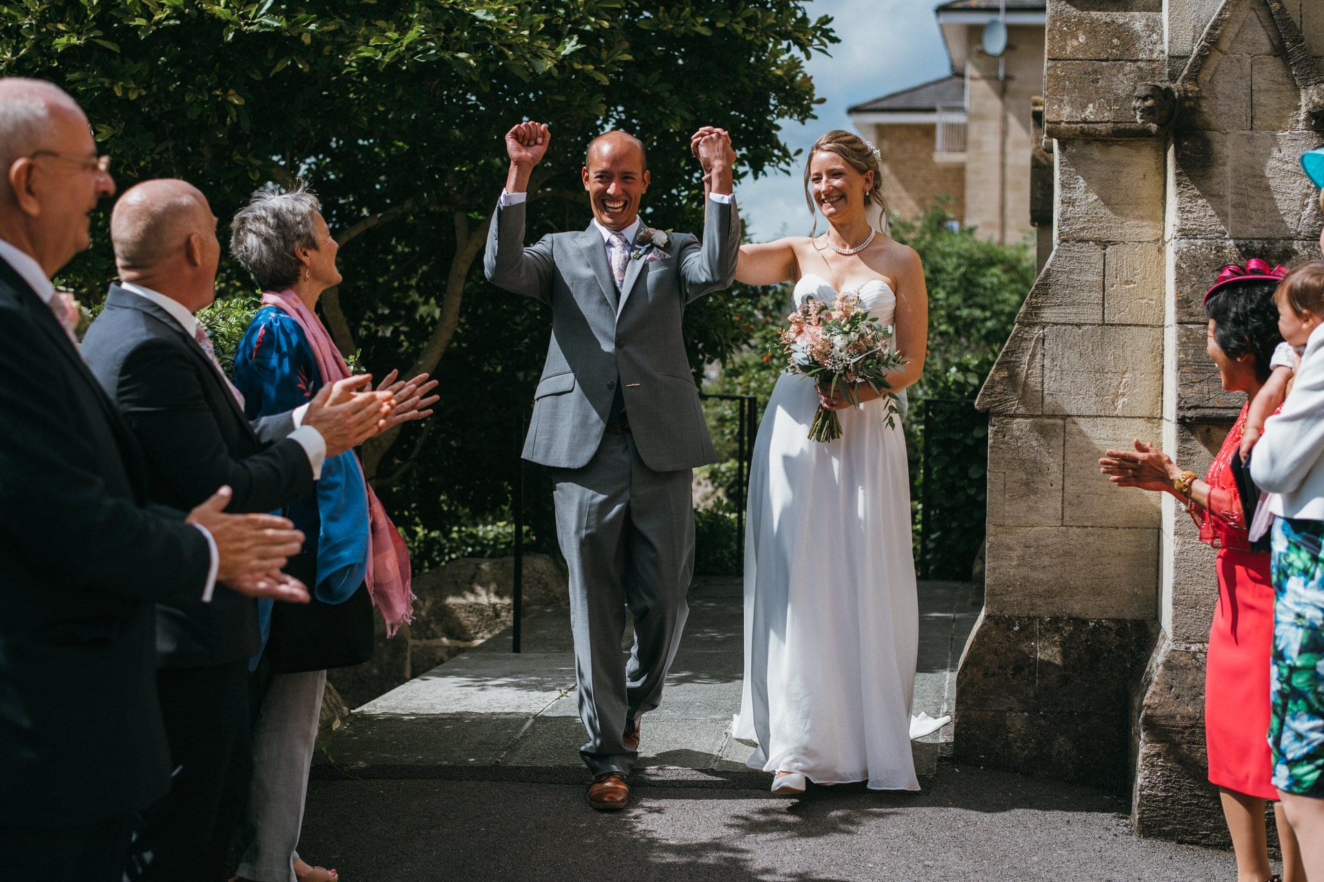 Micro wedding newlyweds