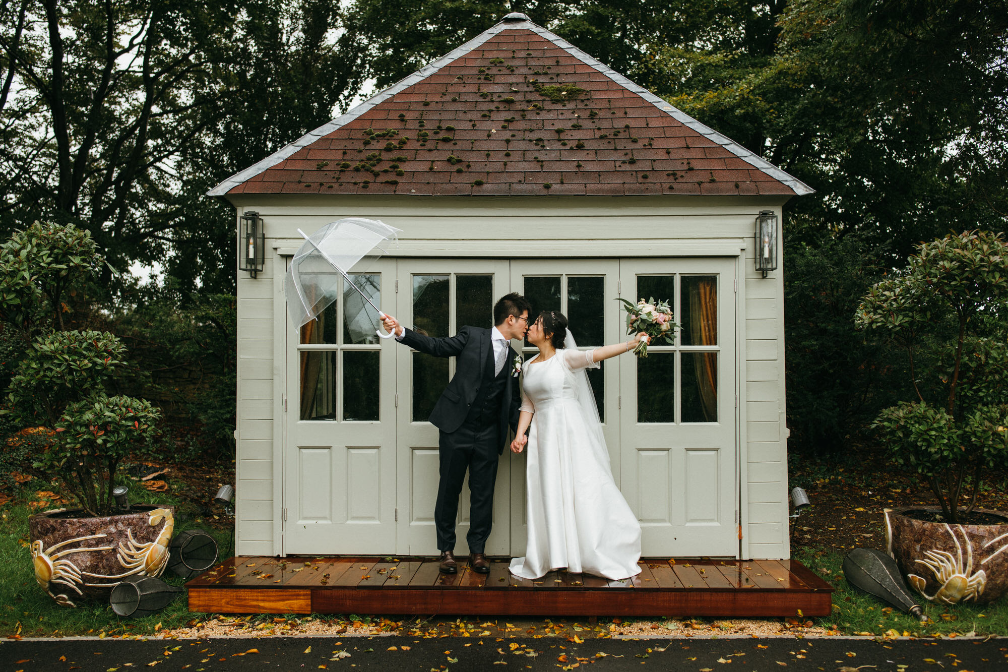 bride and groom at Homewood wedding